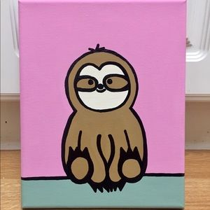 Baby Sloth Canvas Art 9x12""